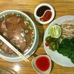 Pho beef soup with rice noodles