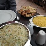 From the front - Egg fried rice, Pilau rice, garlic naan