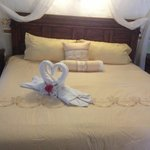 Bed in Honeymoon suite on arrival