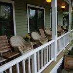 Front porch with wicker chairs!