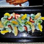 carpaccio de saint jacques agrumes et fraises 10/10