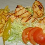 Chicken Kebab & Chips with salad