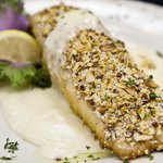 The Almost Encrusted Salmon with Lemon Beurre Blanc sauce.