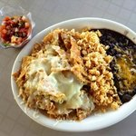 chilaquilles, rice, black beans, salsa