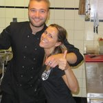 The chef and charming Spanish waitress.