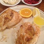 stuffed flounder with beets and potato salad,Yum!