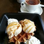 My Hot Waffles and ice cream with another Italiano coffee. Tasty!