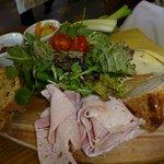 Ploughmans with ham, pork pie and chutney