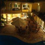 Nightime view of pool