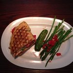 Grilled chicken panini with grilled asparagus