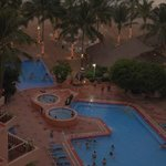 Evening view of pooland beach area from our room