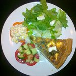 Feta and spinach with season salad
