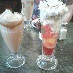 Knickerbocker glory and iced coffee