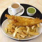 Haddock, Chips & Peas with a cup of tea.