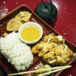 Lemon chicken bento plate.