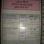 Tarif Breakfast