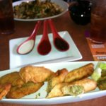 Tempura battered fried zucchini, traditional egg rolls with pork, carrot, celery & cabbage, and