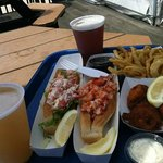 Cold and hot Lobster Rolls with beer - tasty