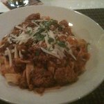 Delicious authentic Bolognese sauce on Tagaleotelli (sp?)