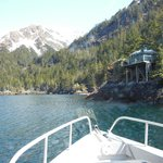 View of yurts as you approach while on the boat