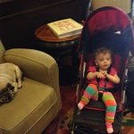Alana with the hotel's pug mascot, Max