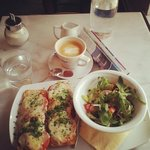 Coffee, grilled chiabata with small salad