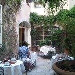Hotel courtyard.