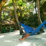 hote's main chill out area with restaurant and hammocks