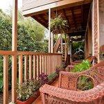 Beautiful outdoor balcony where you can eat while watching birds
