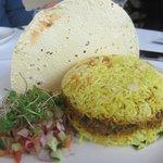 Hyderabadi biriyani looks like a burger, hee hee!