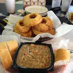 seafood gumbo and onion rings