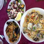 Musels with tomato pasta, seafood salad and clam pasta