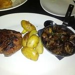 filet with roasted potatoes and sauteed mushrooms