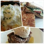 Southwest Eggs, Fried Green Tomato Sandwich & Chocolate Bread Pudding with Caramel Sauce