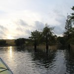 Loving the atmosphere of dusk in a kayak floating along