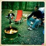 Roasting marshmallows and enjoying smores