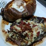 White cheddar bacon stuffed filet and cinnamon & sugar yam