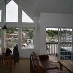 Looking through lounge room to the marina