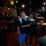 Joe and Bee modelling shamrock polo shirts!!