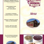 Nancy's Barn Menu