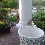 View from my coffee cup, chairs at entrance of Inn