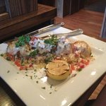 Crab stuffed shrimp over pico de gallo cous cous