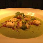 Pea and ham soup with croutons and pea shots