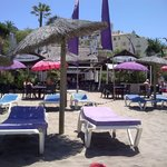 Sun beds at Havana Chiringuito on Cristo beach
