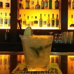 A classic caipirinha at the bar.