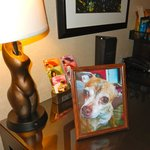 Note the very personal touch of a framed photo prepared by the concierge in advance.