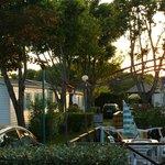 Coucher de soleil vu terrasse mobil home