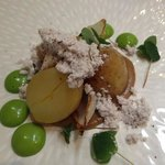 slow rasted potato with onion ash, delicious