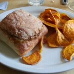 steak and cheese with sweet potato chips