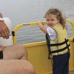 Chloe loving the Pontoon Boat Ride!